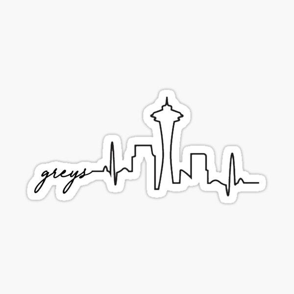 Skyline de Grey Pegatina