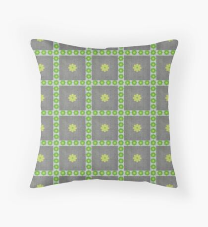 Vibrant Green and Yellow Flowers in Squares Rerto Pattern Throw Pillow