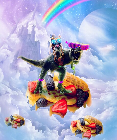 Pug Riding Dinosaur On Clouds And Waffles by SkylerJHill
