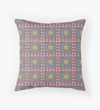 Red and Orange Flowers in Squares Rerto Pattern Throw Pillow