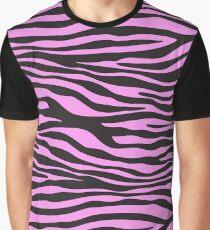 Animal Print, Zebra Stripes - Black Pink  Graphic T-Shirt