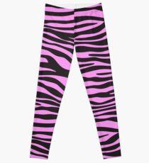 Animal Print, Zebra Stripes - Black Pink  Leggings