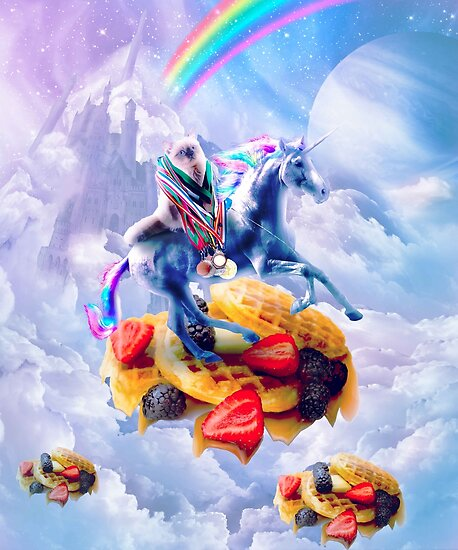 Cat Riding Unicorn On Clouds And Waffles by SkylerJHill