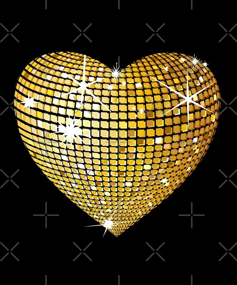 Valentine's day gift for boys/girls, Heart Gold Glitter Tshirt  by KhushbooLohia