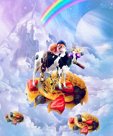 Cat Riding Cow On Clouds And Waffles by SkylerJHill
