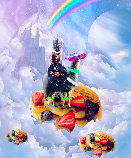 Dog Riding Llama On Clouds And Waffles by SkylerJHill