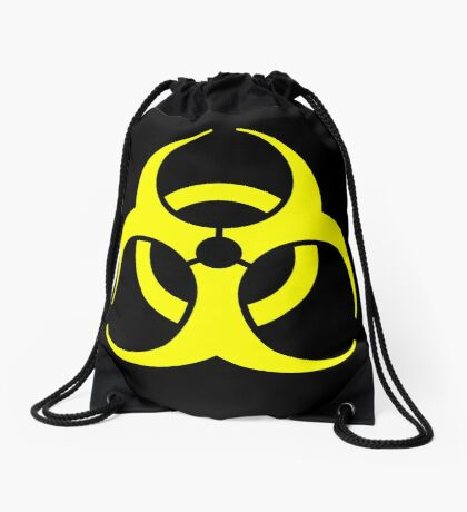 Biohazard Yellow on Black Drawstring Bag