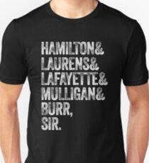 Laurens Lafayette Mulligan Hamilton Burr Shirt Unisex T-Shirt
