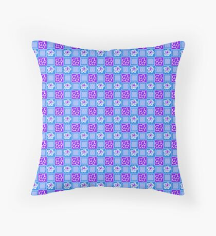 Ultra Violet Flowers in Blue Squares Retro Pattern Throw Pillow