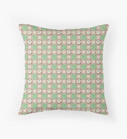 Green Flowers on Brown Squares Retro Pattern Throw Pillow
