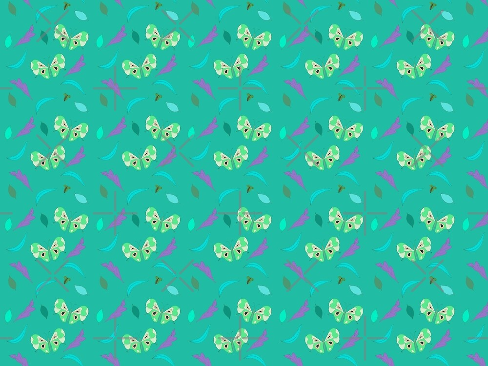 Butterflies and Leaves in Turquoise by Carmen Ray Anderson