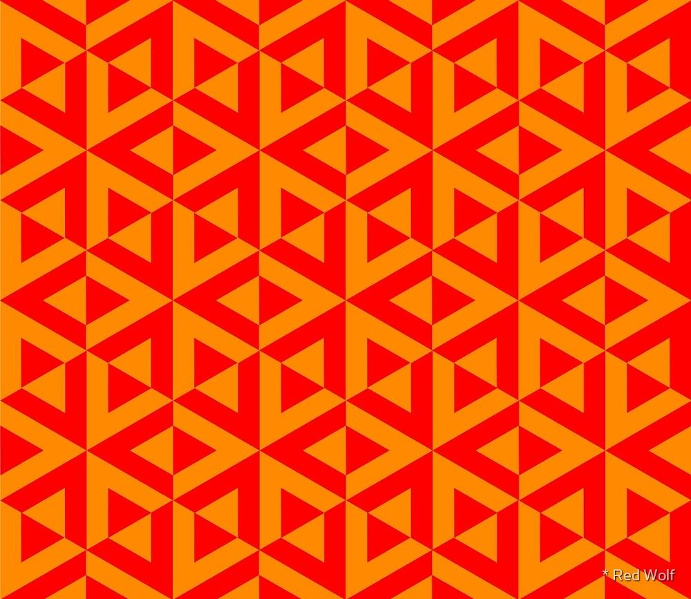 Geometric Pattern: Cube Split: Orange by * Red Wolf