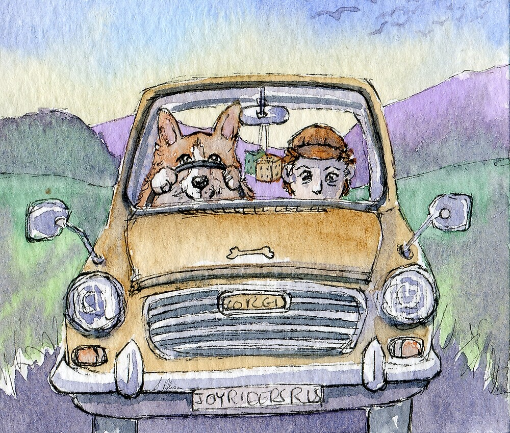 Welsh corgi dog & person, out for a drive in the country by SusanAlisonArt