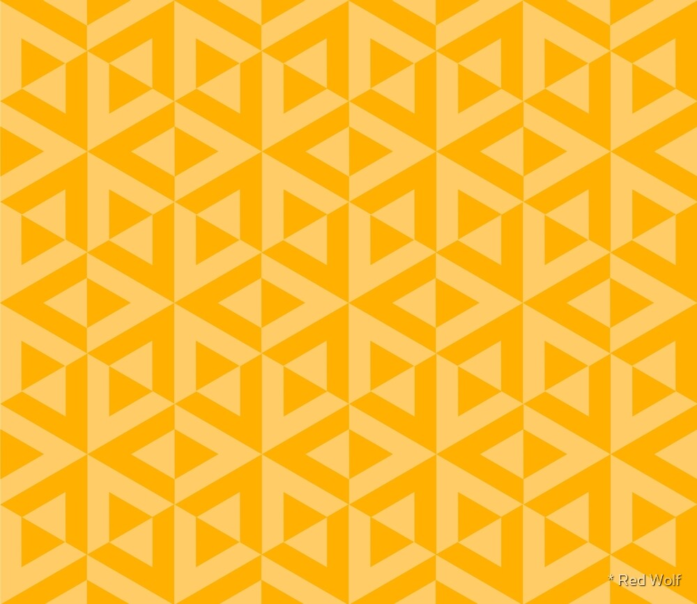 Geometric Pattern: Cube Split: Yellow by * Red Wolf