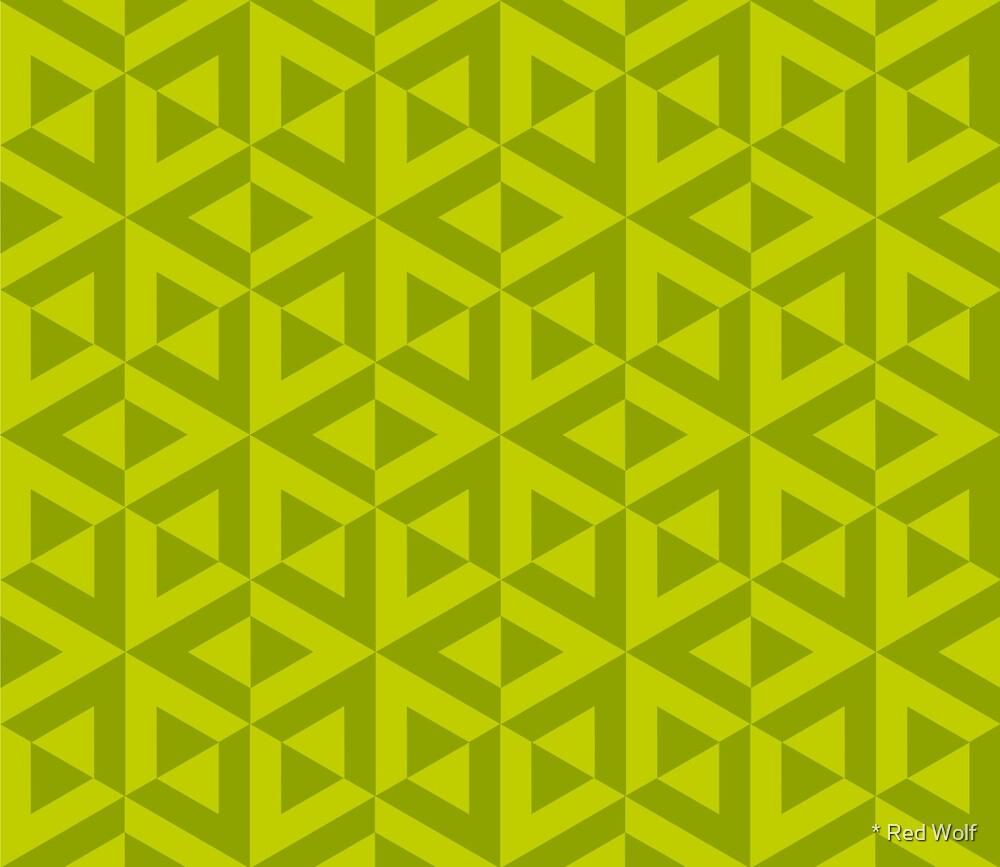 Geometric Pattern: Cube Split: Green by * Red Wolf