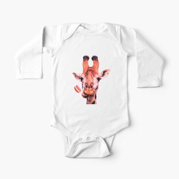 Lovely giraffe with macaron by Alice Monber Long Sleeve Baby One-Piece