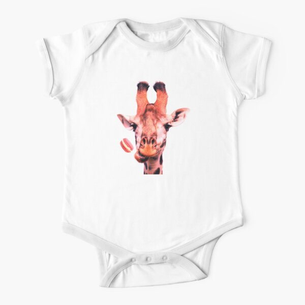 Lovely giraffe with macaron by Alice Monber Short Sleeve Baby One-Piece