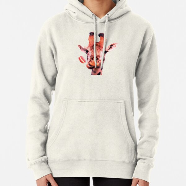 Lovely giraffe with macaron by Alice Monber Pullover Hoodie