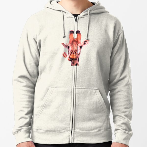 Lovely giraffe with macaron by Alice Monber Zipped Hoodie