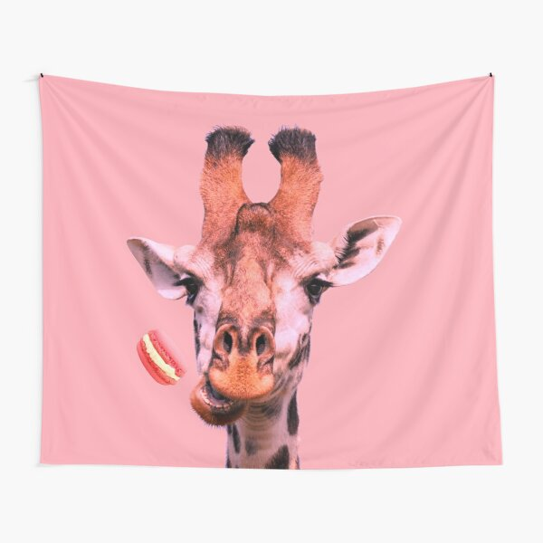 Lovely giraffe with macaron by Alice Monber Tapestry