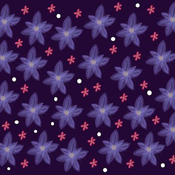 Purple and Pink Flowers Pattern 2018 by flokot