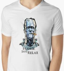 Frankensteins Monster says Calm Down. Men's V-Neck T-Shirt