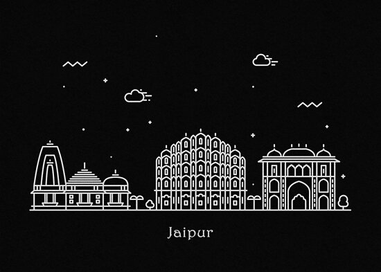 Jaipur Skyline Minimal Line Art Poster by A Deniz Akerman