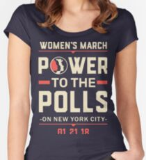 New York CIty WOMEN'S MARCH 2018 (power to the polls) Women's Fitted Scoop T-Shirt
