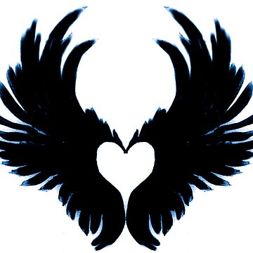 Black angel wings heart by atlasartsn