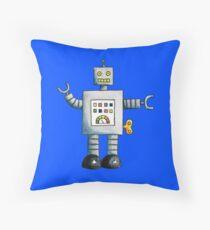 Robot (Blue Background) Throw Pillow