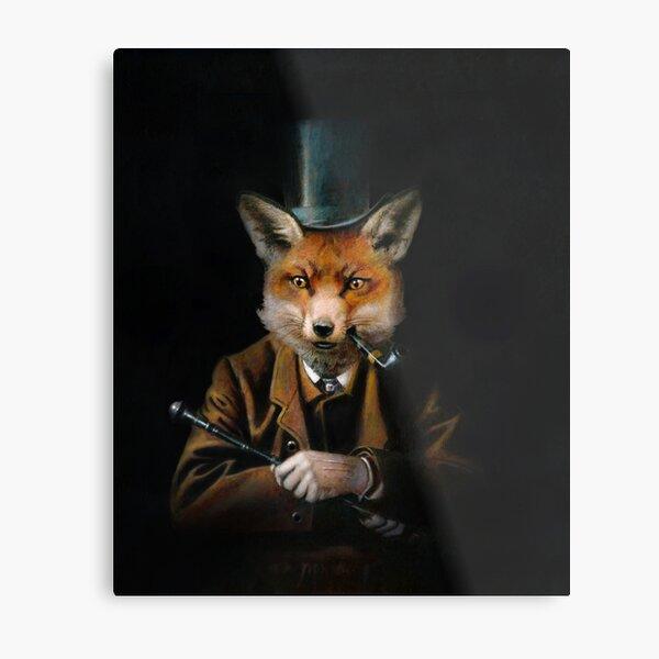 Dapper Victorian Fox Metal Print