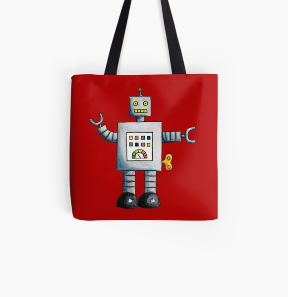 Robot (Red Background) All Over Print Tote Bag