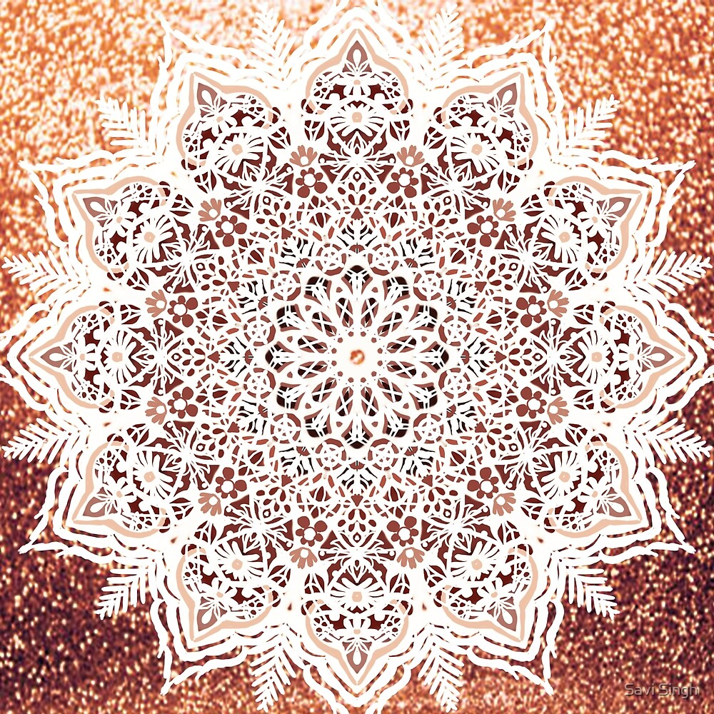 Rose Gold Glitter Mandala by Savi Singh