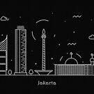 Jakarta Skyline Minimal Line Art Poster by A Deniz Akerman