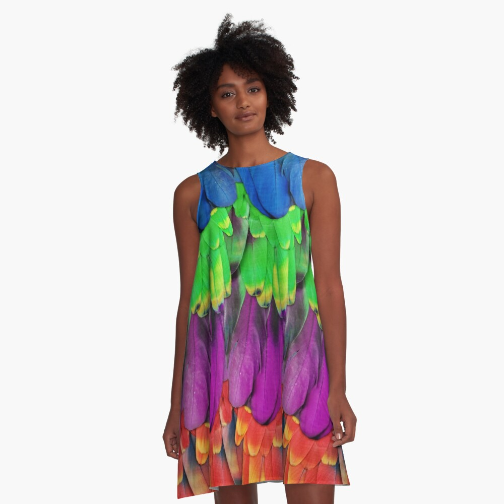 Rainbow Macaw Feathers A-Line Dress Front