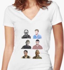 The Evolution of Evan Peters Women's Fitted V-Neck T-Shirt