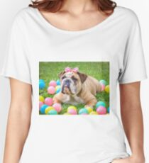 Bulldog with ribbon Women's Relaxed Fit T-Shirt