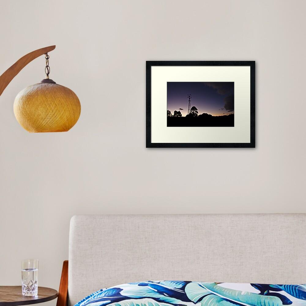 Broken windmill - after sunset Framed Art Print