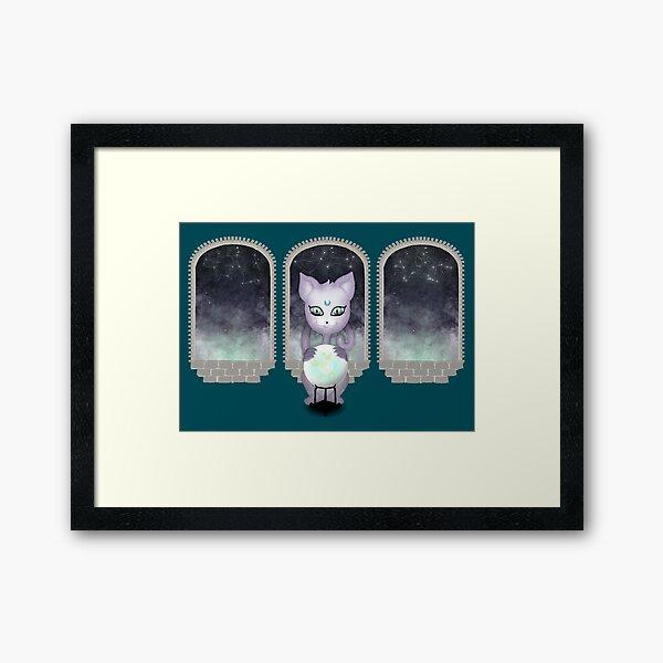 Mystic Miku   Crystal Ball & Zodiac   Teal Framed Art Print