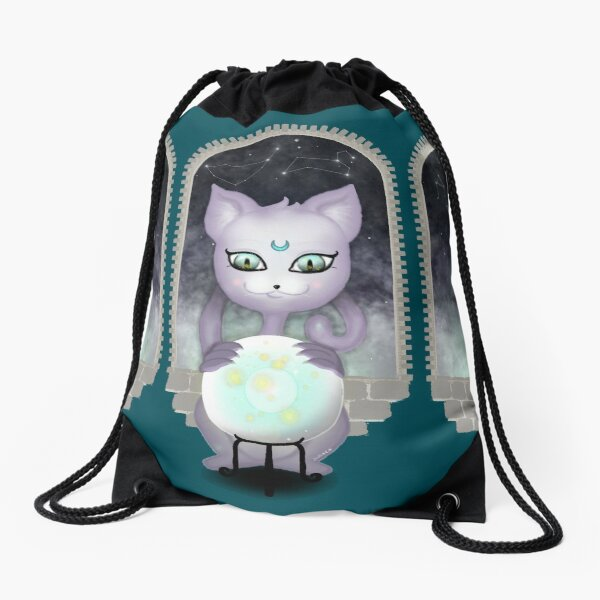 Mystic Miku | Crystal Ball & Zodiac | Teal Drawstring Bag