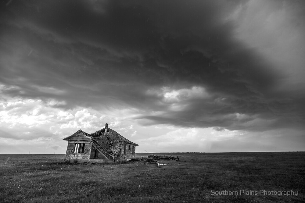 Sweeping Down the Plains - Old Farmhouse and Storm in Oklahoma by Sean Ramsey