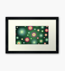 Abstract flowers over dark green graduated background. Spring and summer concept. Framed Print