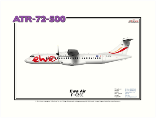 ATR 72-500 - Ewa Air (Art Print) by TheArtofFlying