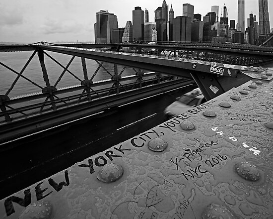 New York City You're Beautiful Brooklyn Bridge NY Black and White by WayneOxfordPh