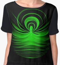 Abstract green glowing motive on black  Chiffon Top