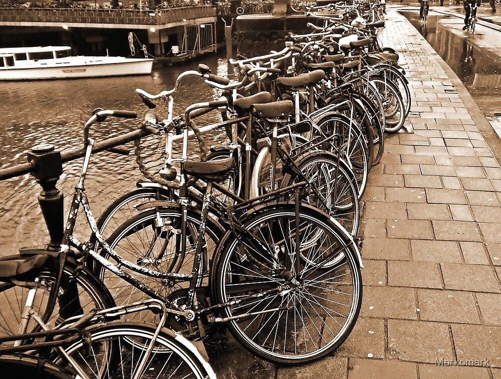 Dutch Style Bike Parking in Amsterdam Sepia by Markomark