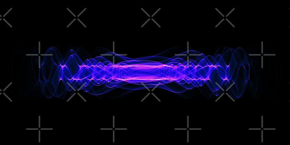 Plasma or high energy force concept. Blue-purple glowing energy waves on black by dani3315