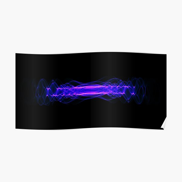 Plasma or high energy force concept. Blue-purple glowing energy waves on black Poster