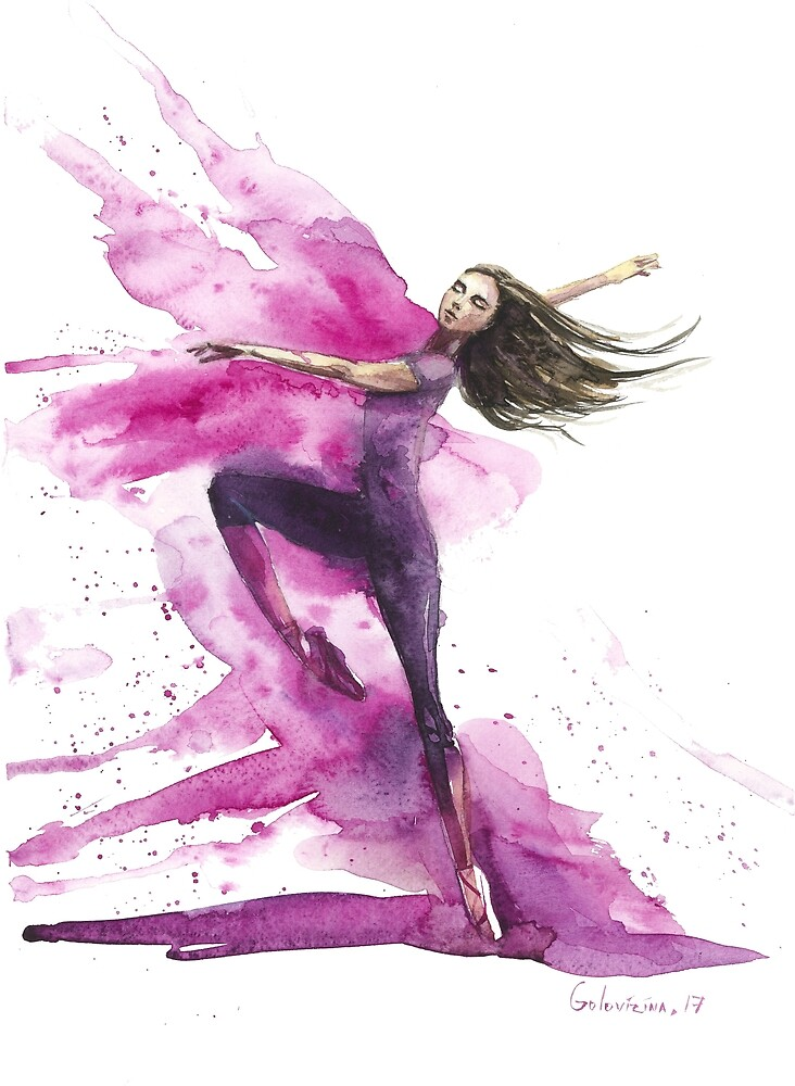 watercolor ballerina - emotional, expressional pink art by olgagolovizina