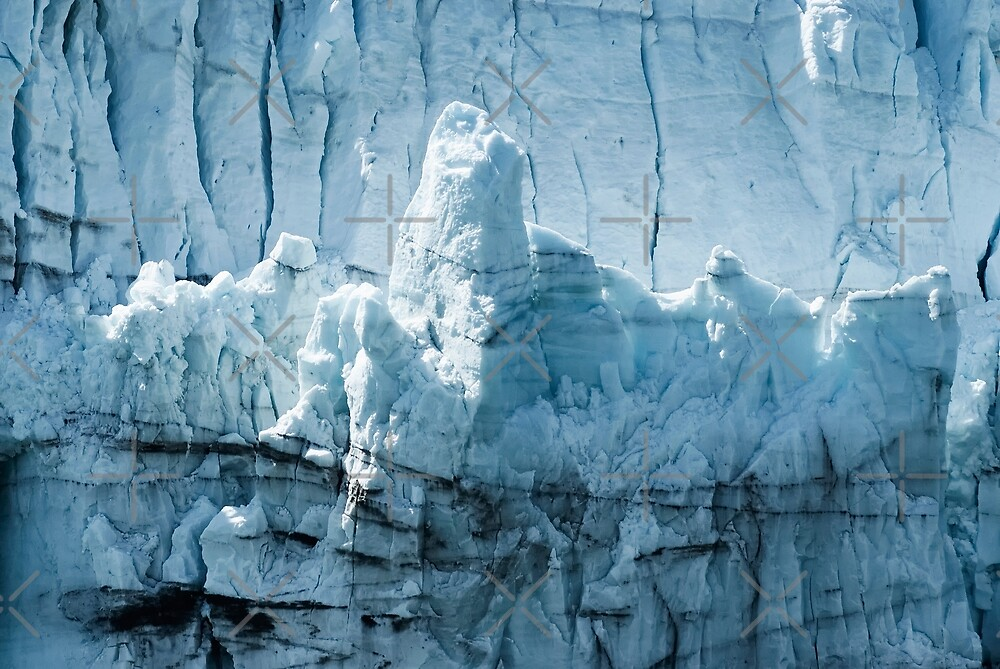 Close-up of a distinctive ice formation on the face of the Margerie Glacier  by dani3315